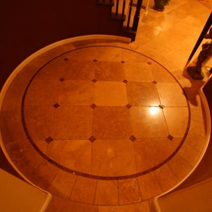 Travertine Tile with Glass Accent